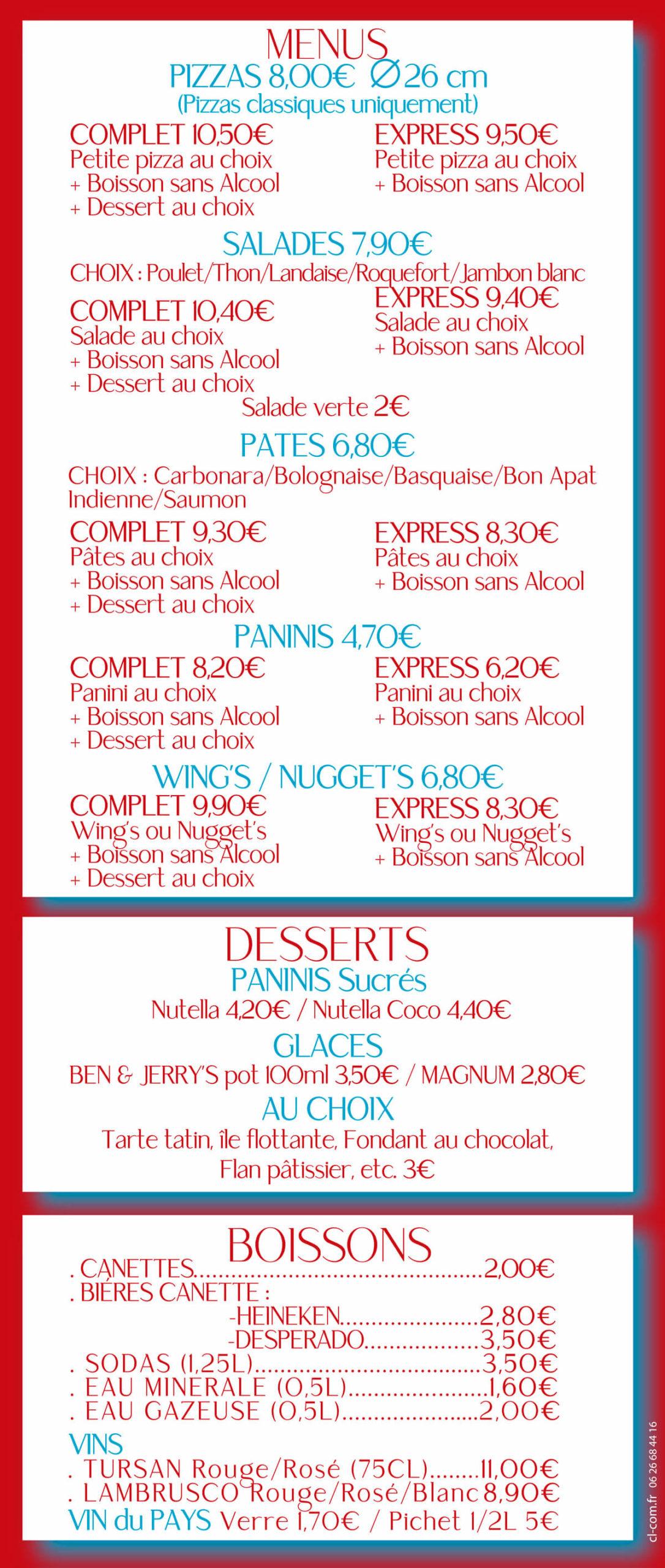 Menus / Desserts / Boissons